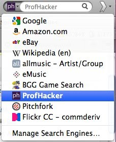 Firefox search options in a drop down menu