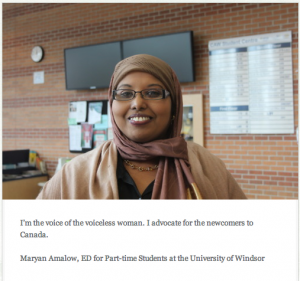Maryan Amalow, ED for Part-time Students at the University of Windsor in the student centre at the University of Windsor