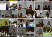 a mosaic of the 2009 FRG conference. There are people presenting at lecterns, sitting on the grass, chatting, singing and playing guitar