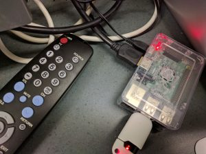Raspberry Pi microcomputer with flashdrive installed